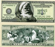 Traditional 1 Million Dollars Christmas Novelty Money x 100 Note Bundle -Present