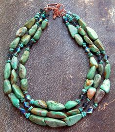 Triple-stranded Tibetan turquoise...I would love to find this for myswelf...