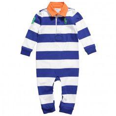 NEW Ralph Lauren Baby Boys Stripe Cotton Romper and Cotton Shortie