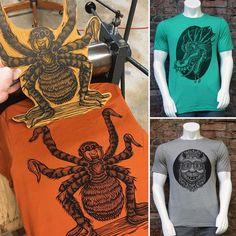 "Chris Neuenschwander (@nooshstudios) on Instagram: ""I just made 3 more woodcut printed T-shirts available on my website!…"" Block Prints, Printmaking, Printed Shirts, Carving, Website, T Shirt, Instagram, Art, Door Bells"