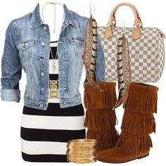 I would never think to combine any of this... But I love it. Love minnetonka boots!!