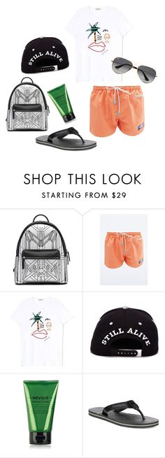 """East Hampton Orange"" by iloveaxellots on Polyvore featuring MCM, Oiler & Boiler, Cowshed, Havaianas, Ray-Ban, men's fashion and menswear"
