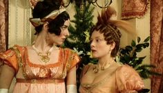 "Jane Austen Fashions - ""the richly attired Miss Bingley and Mrs. Hurst"" from the BBC drama, Pride and Prejudice"