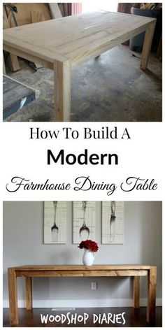 How to Build a Modern Farmhouse Dining Table free building plans diy farmhouse table Farmhouse Table Plans, Farmhouse Kitchen Tables, Farmhouse Decor, Homemade Kitchen Tables, Farmhouse Style Table, Home Decor Kitchen, Kitchen Ideas, Simple Dining Table, Diy Table
