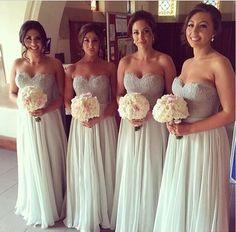 Gray bridesmaid dress,long bridesmaid dress,Cheap bridesmaid dress,Swe – Princesssbride