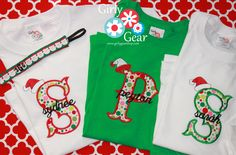Santa Hat tees w/name & monogram!  www.girlygearshop.com