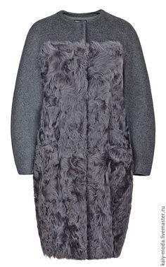 Купить Пальто из меха овчины и шерсти - темно-серый, однотонный, пальто, комбинированное пальто