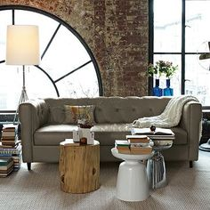 exposed brick wall & lovely rustic wood side table