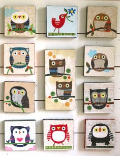 A few Kate Endle Collage owls. Find more at my Etsy shop: http://www.etsy.com/shop/kateendle