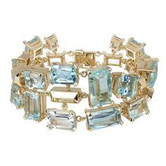 Aquamarine Gold Bracelet | From a unique collection of vintage modern bracelets at https://www.1stdibs.com/jewelry/bracelets/modern-bracelets/