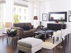 A sense of balance is relaxing. TIDAFORS sofa. HEMNES coffee table. ÅDUM rug. NILS armchairs. MONGSTAD mirror. NYFORS floor lamp.
