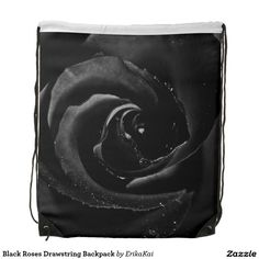 """Black Rose Drawstring Backpack. 100% polyester. Dimensions: 14.75"""" x 17.3""""."""