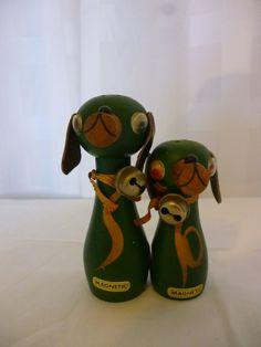 Mid Century Wooden Dog Magnetic Salt and by PamelaMurphyVintage, $13.00