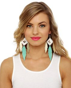 Claire Fong Trifecta Gold and Mint Leather Earrings #lovelulus