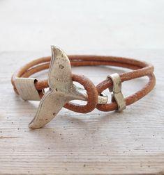 Pulsera de cola de ballena - náutico playa de pulsera joyería cuero y Metal