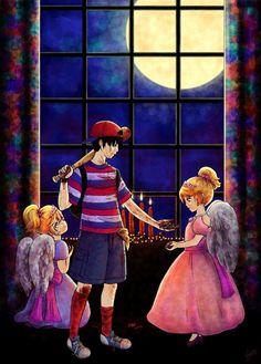 Ninten salvando el dia de halloween (dia de muertos) para sus hermanas minnie y mimmie ;)  Dia de brujas ;) y dia de todos los santos ;) Ness Lucas y Claus ;)