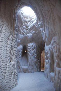 Hand carved cave in Abiquiu, New Mexico, USA