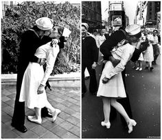 Times Square Kiss Halloween Costume: Probably the most romantic couples costume ever. Throw on a vintage white dress, grab yourself a sailor (or at least a partner in a sailor costume) and get ready to lock lips for photos all night. Kiss Halloween Costumes, Kiss Costume, Unique Couple Halloween Costumes, Pop Culture Halloween Costume, Hallowen Costume, Cute Halloween, Halloween Couples, Couple Costumes, Costume Ideas