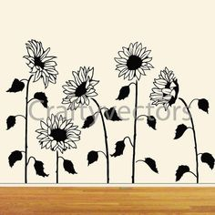 Tall Sunflowers wall decal cut file by CraftyVectors on Etsy