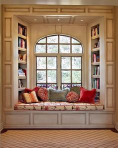 Beautiful window seat/bookshelf! This would be my favorite place in the house.love,love,love this