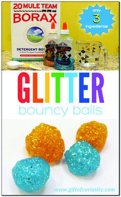 Make your own glitter bouncy balls (that actually bounce!) using just three simple ingredients. These bouncy balls are fun to make, plus they are a great demonstration of a chemical reaction in action. - Education and lifestyle Science Activities For Kids, Steam Activities, Preschool Science, Science Experiments Kids, Science For Kids, Science Demonstrations, Summer Science, Stem Science, Science Classroom