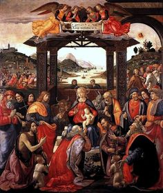 Artist             [show]Domenico Ghirlandaio (1449–1494)                                                                                                 ·   ·   ·   ·   ·   ·             Title       English: Adoration of the Magi for the Spedale degli Innocenti.         Medium     painting