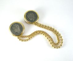 Double Gold Silver Replica Coin Brooch Pin Connected by paleorama
