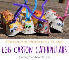 Egg Carton Caterpillar Craft for Toddlers and Preschoolers Caterpillar Preschool Craft - Teaching 2 and 3 Year Olds Egg Carton Caterpillar, Caterpillar Preschool, Craft Activities For Kids, Toddler Activities, Crafts For Kids, Craft Ideas, Easy Crafts, Daycare Crafts, Preschool Crafts