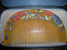 19TH C MEIJI SHELL ANTIQUE HAIR COMB CORAL GOLD SILVER PEARL INLAY SIGNED BOXED