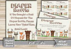 Woodland Printable Diaper Raffle  Diaper by DigitalitemsShop