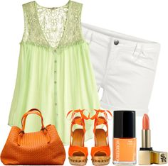 """Honeydew and Tangerine"" by justjules2332 ❤ liked on Polyvore"