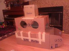Submarine made from card board boxes. Kids can decorate and play in for hours of fun.