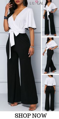 85 Black & White Color Block Flare Sleeve Tie Waist Wide Leg Jumpsuit, shop the spring summer jumpsuit at Liligal now! liligal jumpsuit is part of Wedding nails Almond Squares - Wedding nails Almond Squares Dressy Jumpsuit Wedding, Jumpsuit Dressy, Summer Jumpsuit, Dressy Rompers And Jumpsuits, Jumpsuits For Women, Jumpsuits For Weddings, Classy Outfits, Casual Outfits, Look Fashion