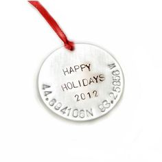 I made this Christmas holidays ornament. Hand stamped with your longitude latitude.  It's available on jewelrylized.com #customornament #handstamped #handmade #ornament #ornaments #personalizedornament #handmadeornament #handstampedornaments #holidaysgift  #christmasornament #personalizedgifts #handmadewithlove #stamping #stamped #forsale #jewelrylized #latitudeandlongitude #latitudelongitude #latitudelongitudeornament #holidaysornaments #treeornament http://goo.gl/4oV4pZ