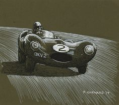 """Tony Rolt in Jaguar D-Type chassis XKC403 racing to 3rd place at the 1955 Daily Express race at Silverstone. I did this sketch while waiting at a friend's medical appointment. It's based on a photo by Louis Klemantaski from his and Michael Frostick's book """"Racing Sports Cars"""". Pen & ink and white markers on 6""""x 5.5"""" dark khaki paper.  © Paul Chenard 2017 Original art available, as are limited editions."""
