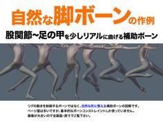 自然に曲がる脚部リグ(股関節・臀部・大腿・膝関節・脹脛・足首・足の甲)の図解です。ウェイトやボーンコンストレイント設定を全て載せました。 今回は量が多いので説明を簡略化しましたが、内容は至ってシンプ