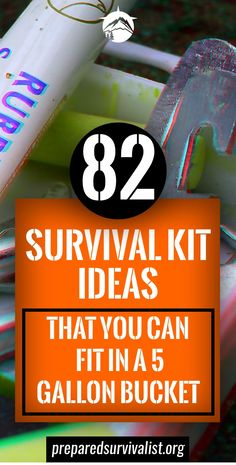 Trying to put a survival kit together can be a daunting task. We've done the hard work for you and share 82 survival kit ideas for a 5 gallon bucket. Survival Supplies, Survival Food, Outdoor Survival, Survival Prepping, Emergency Preparedness, Survival Skills, Survival Hacks, Survival Equipment, Survival List
