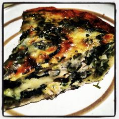 Vegetable and Salmon Quiche   Items Needed:  * Pie crust ( homemade or store bought) * Spinach * Zucchini  * Red Onion * Scallions * 8 Jumbo Eggs * 1/2 cup Milk * Honey * Garlic (fresh     Sauté veggies with olive oil. Season with salt and pepper. Add 1 1/2 tbs honey 4 garlic cloves.  Mix eggs and milk. Add vegetables and 3/4 cheese grated. Mix all together  Place mixture in Pie crust ( pre cook pie crust) cover top with rest of cheese.   Bake for 20-25 min on 350  Broil on 450 around 5 min