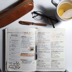 "genspen: "" 030616 ◦ Last week in my bullet journal with a brown theme and my jasmine/green tea! """