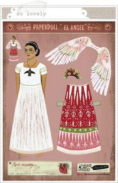 Frida angel paper doll