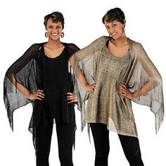 """Look stylish with this sheek and shear metallic mesh poncho. 31"""" long. 100% polyester. Hand wash in cold water. Made in China"""