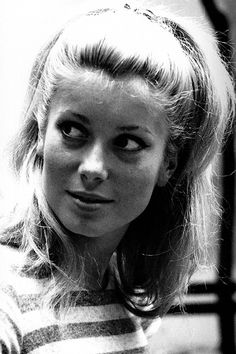 """jacquesdemys: """" """" Catherine Deneuve on the set of The Umbrellas of Cherbourg (1964), photographed by Leo Weisse """" """""""