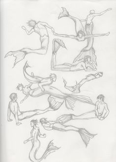 """asperss: """" I went to the merman and mermaid tags for pose reference and realized that there aren't a lot of drawing/pose references for merpeople other than various repeats of the same few photos. So I ended up going through the tags and drawing some..."""