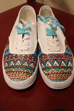 Aztec Hand Painted Sneakers Shoes #aztec #sneakers #shoes www.loveitsomuch.com