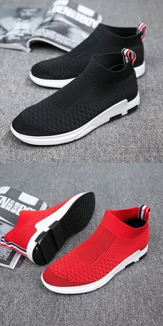 Men Flyknit Mesh Fabric Breathable Sock Trainers Sport Casual Sneakers