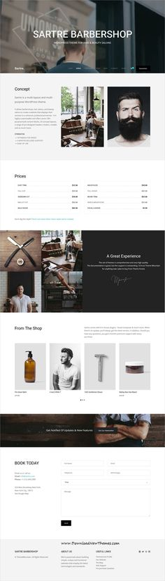 Sartre is clean and modern design responsive multipurpose #WordPresstheme for #salon and #barber shop website with 35+ niche homepage layouts to live preview & download click on image or Visit #webdevelopment