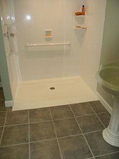 No lip shower base. Custom Solid Surface Shower Pan with 6 Disabled Bathroom, Handicap Bathroom, Tub To Shower Remodel, Tub Remodel, Shower Pan, Shower Kits, Shower Ideas, Tub To Shower Conversion, Building A Cabin