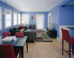 Total Home Remodel Design in Beautiful Appearance : Bright Family Room Design Blue Painted Wall Whole House Remodel