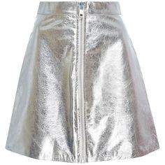 Brashy     Chloe Lambskin Leather Skirt (€400) ❤ liked on Polyvore featuring skirts, mini skirts, silver, mini skirt, white skirt, high-waist skirt, metallic mini skirt and high waisted mini skirt