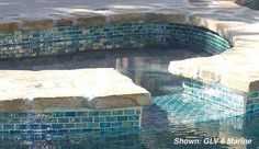 Classic Pool Tile presents the Endless Summer Pool Tile Collection. Shop from our wide selection of ceramic and stone swimming pool tiles, coping, decking, mosaics and depth markers. Swimming Pool Tiles, Swimming Pools Backyard, Pool Spa, Glass Pool Tile, Beach Entry Pool, Pool Finishes, Pool Colors, Pool Remodel, Dream Pools